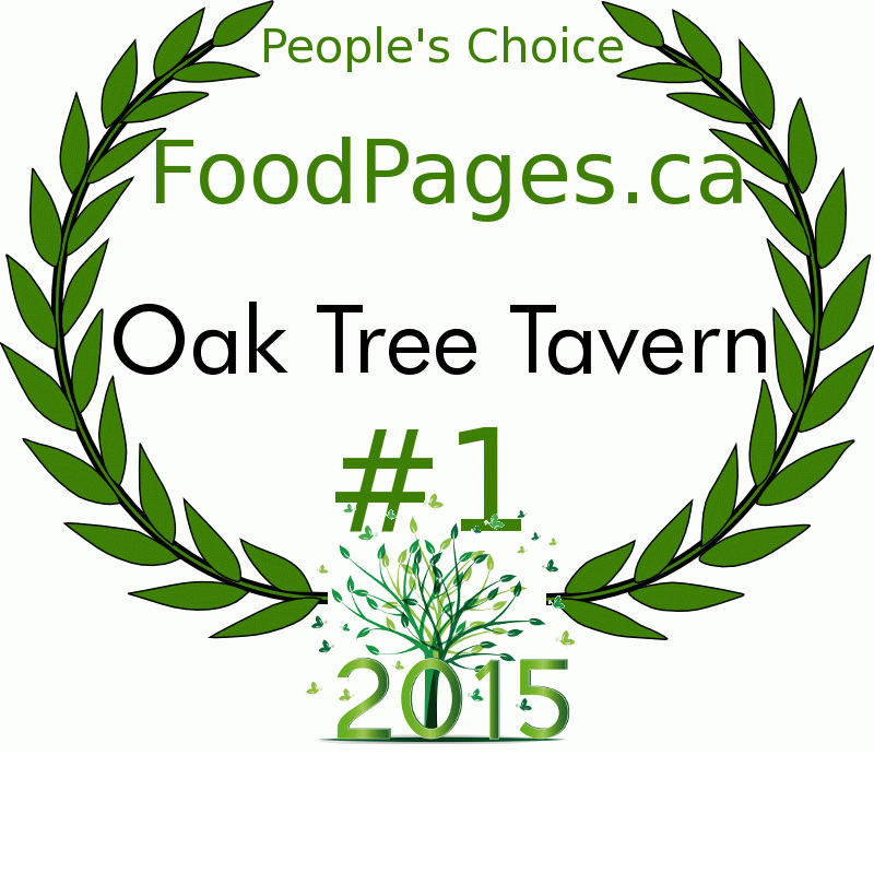 Oak Tree Tavern FoodPages.ca 2015 Award Winner