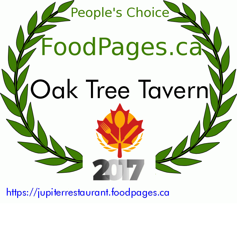 Oak Tree Tavern FoodPages.ca 2017 Award Winner